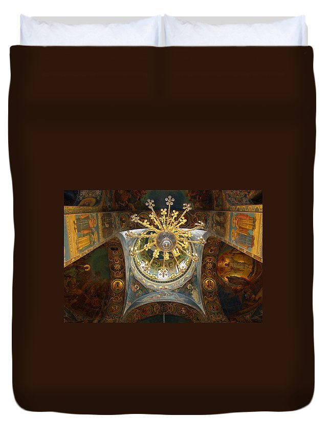 Church Of The Savior On Spilled Blood Duvet Cover featuring the photograph Artwork In St. Petersburg Church by Richard Rosenshein