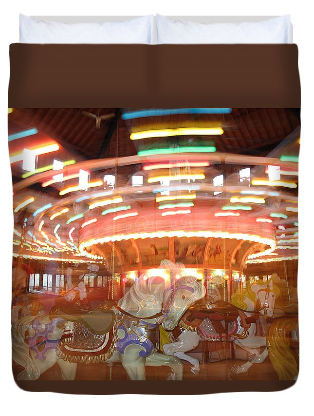 Carousel Duvet Cover featuring the photograph As In A Dream by Barbara McDevitt