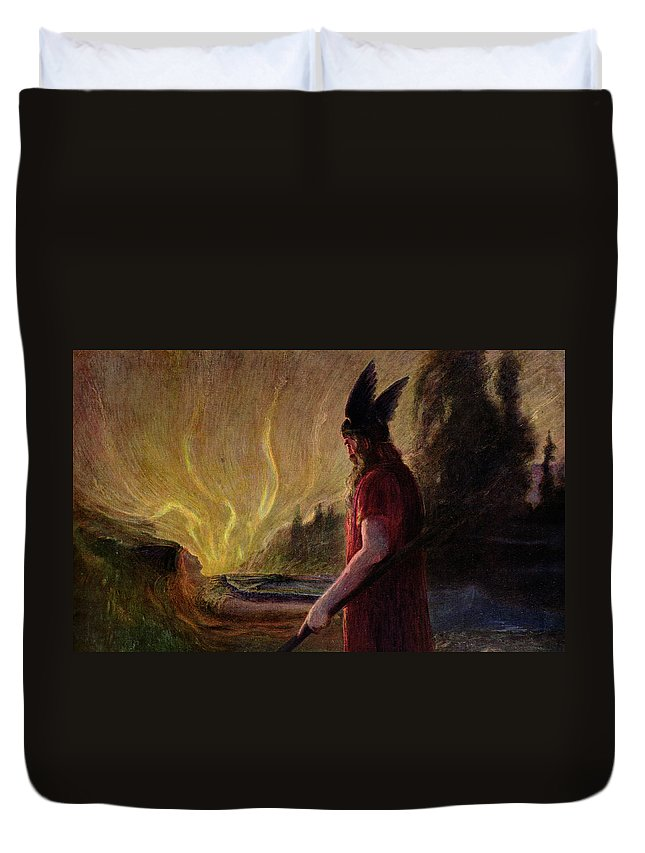 Le Depart De Wotan Duvet Cover featuring the painting As The Flames Rise Odin Leaves by Hermann Hendrich