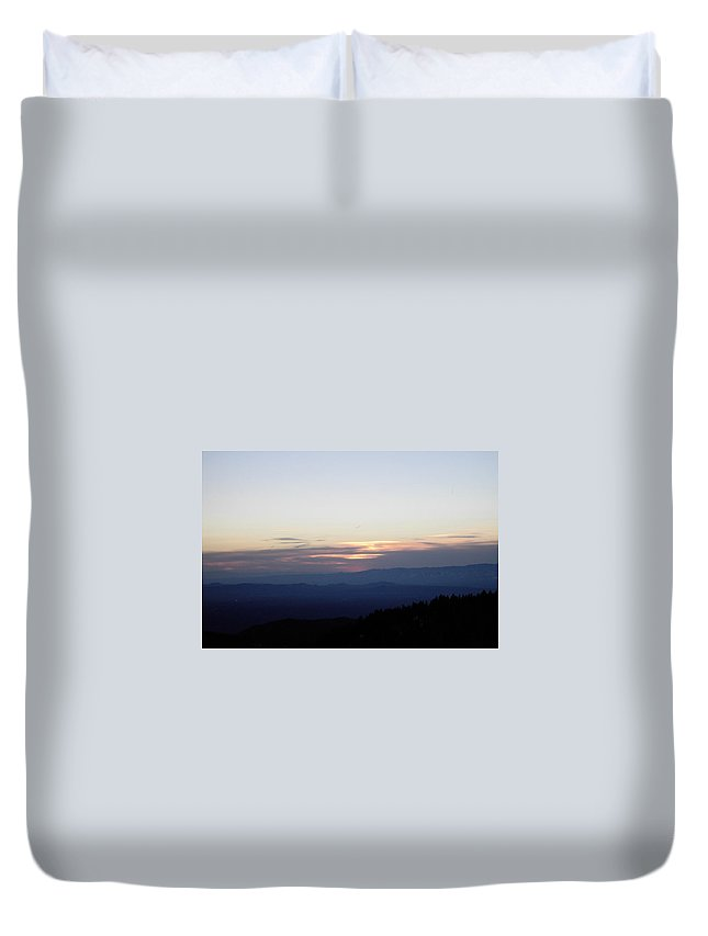 As The Sun Sets Duvet Cover featuring the photograph As The Sun Sets by Denyse Duhaime