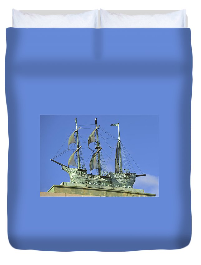 Asbury Park Nj Convention Hall Ship Duvet Cover featuring the photograph Asbury Park Nj Convention Hall Ship by Terry DeLuco
