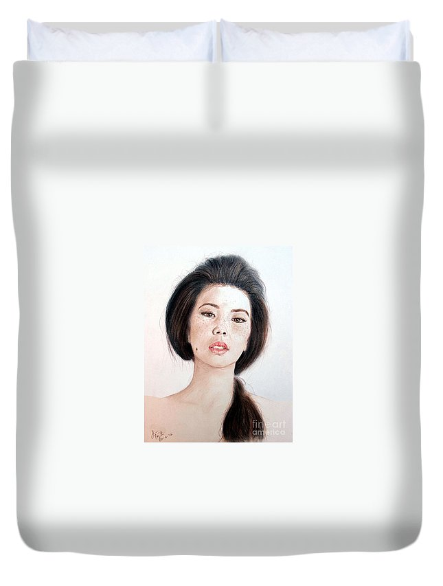 Freckle Faced Asian Beauty Duvet Cover featuring the drawing Asian Beauty by Jim Fitzpatrick