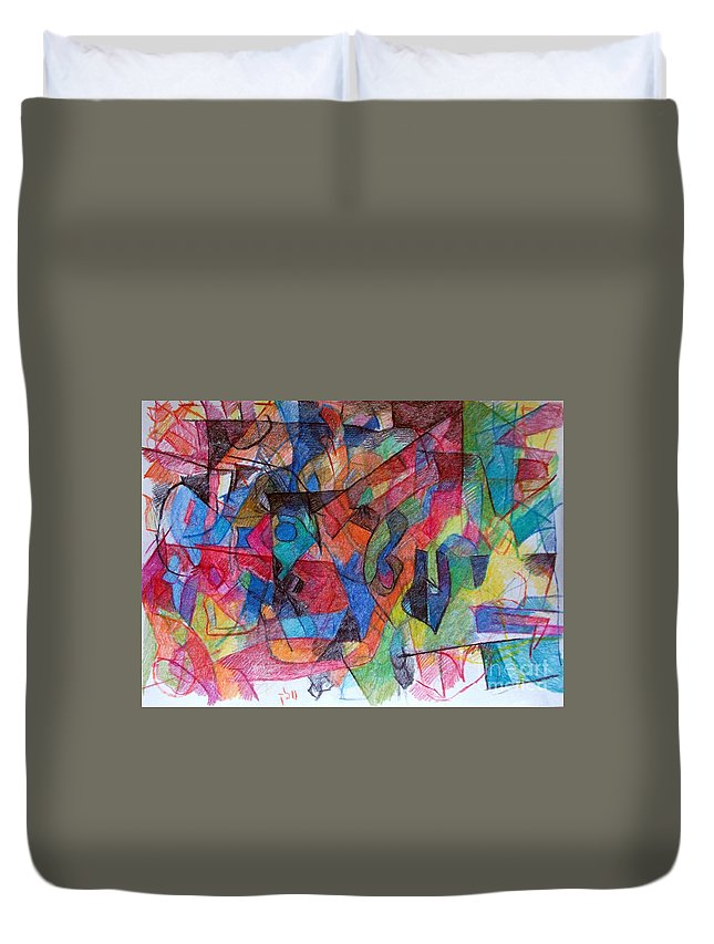 Torah Duvet Cover featuring the drawing Asking Another To Understand 1 by David Baruch Wolk