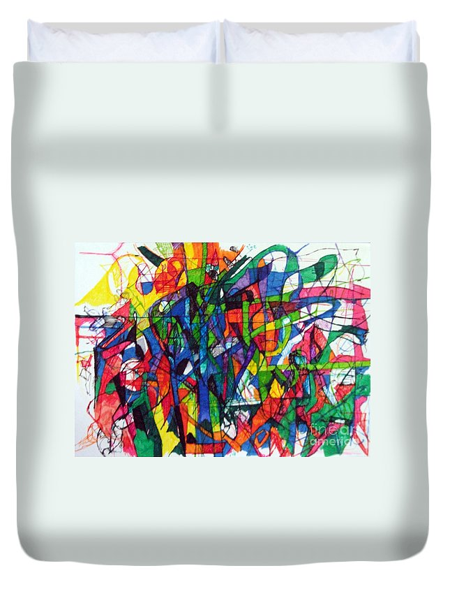 Torah Duvet Cover featuring the drawing Asking Another To Understand 2 by David Baruch Wolk
