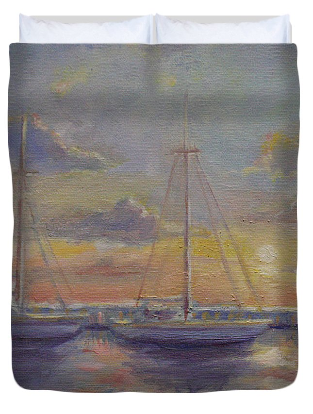 Boats Duvet Cover featuring the painting Asleep At The Marina by Sarah Parks