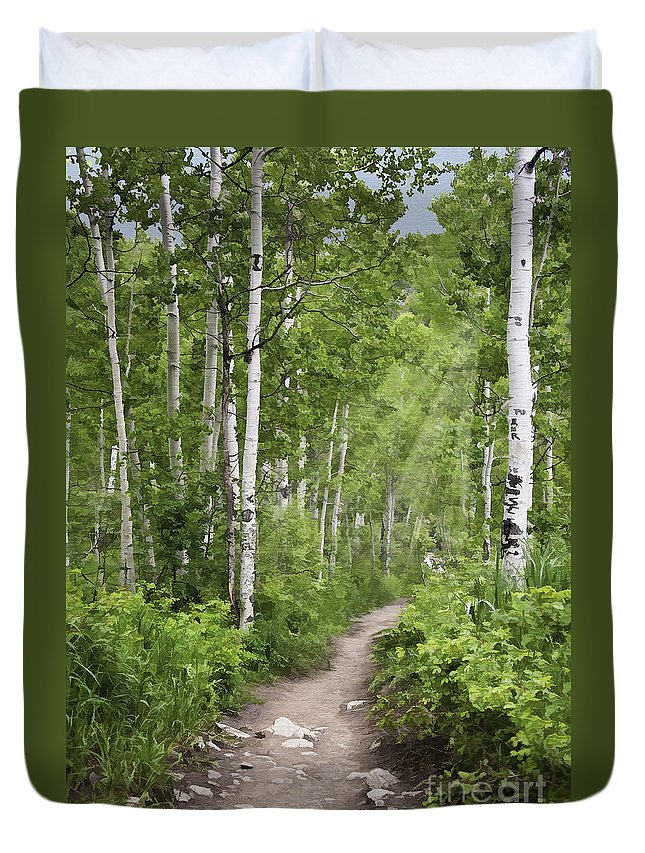 Landscape Duvet Cover featuring the photograph Aspen Path by Sharon Foster