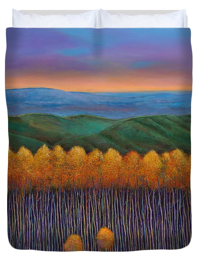 Autumn Aspen Duvet Cover featuring the painting Aspen Perspective by Johnathan Harris