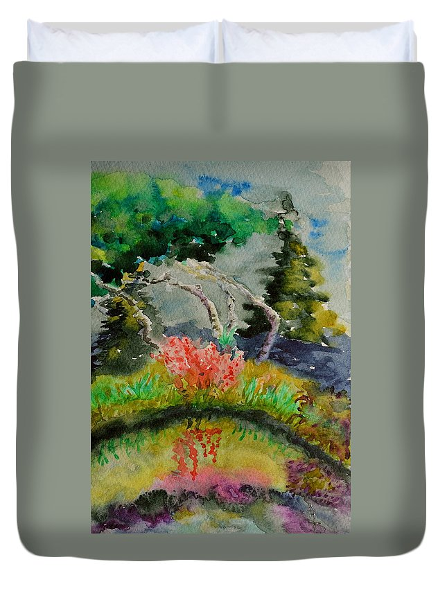 Aspens Duvet Cover featuring the painting Aspens On Acid by Beverley Harper Tinsley