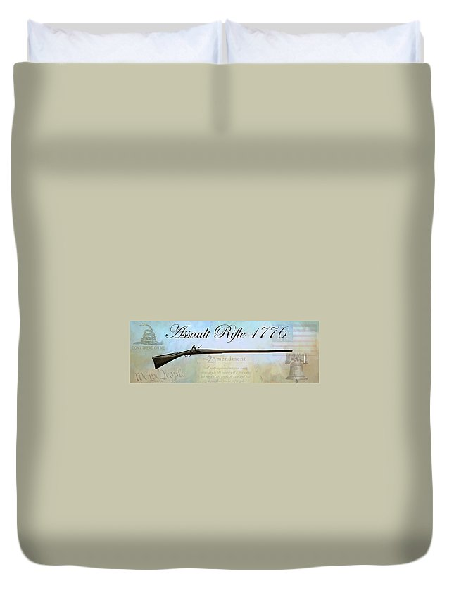 Rifle Duvet Cover featuring the painting Assault Rifle by G Cannon