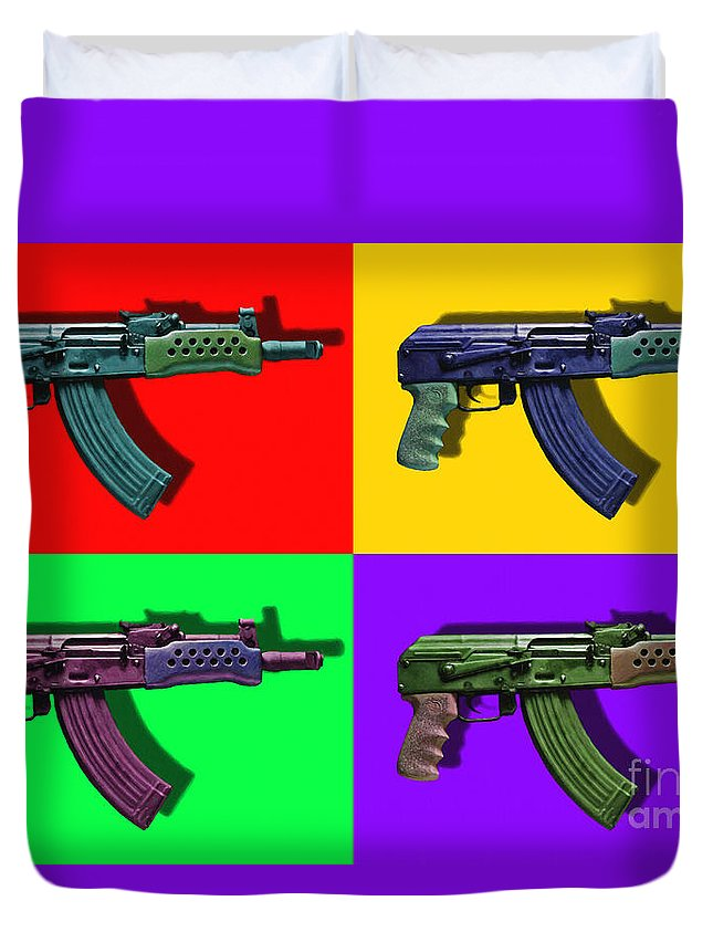 Gun Duvet Cover featuring the photograph Assault Rifle Pop Art Four - 20130120 by Wingsdomain Art and Photography