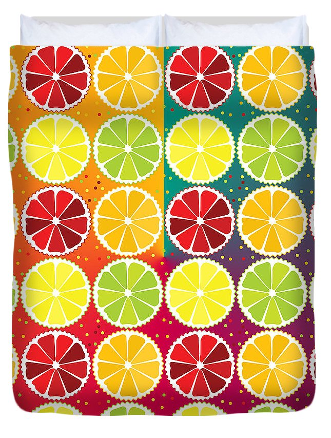 Limes Duvet Cover featuring the digital art Assorted Citrus Pattern by Gaspar Avila