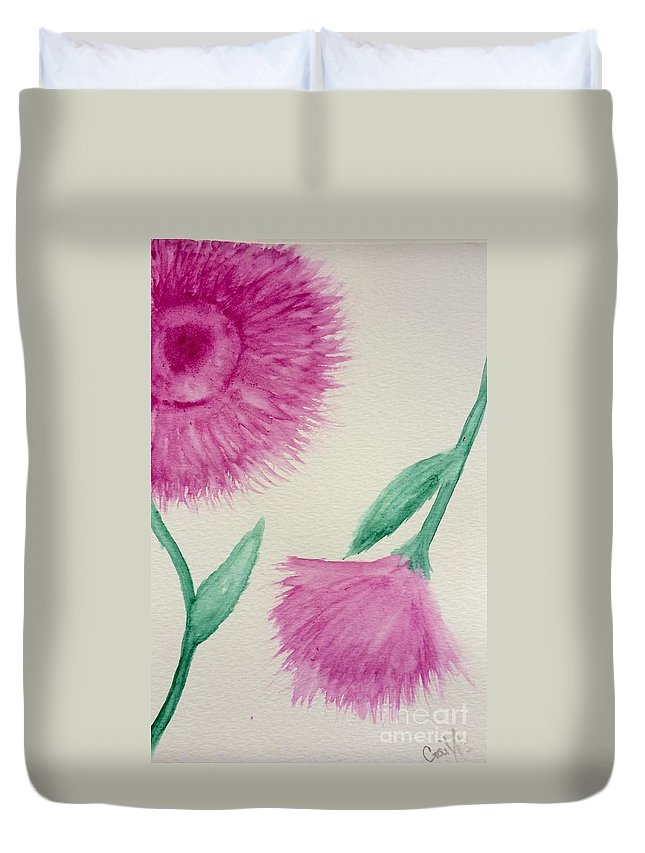 Flowers Duvet Cover featuring the painting Aster In The Pink by Gail Nandlal