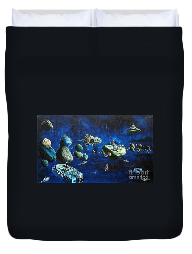 Fantasy Duvet Cover featuring the painting Asteroid City by Murphy Elliott