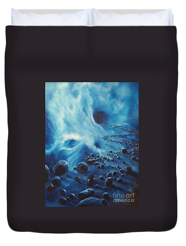 Si-fi Duvet Cover featuring the painting Asteroid River by Murphy Elliott
