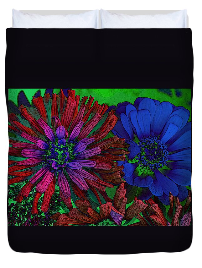 Flowers Duvet Cover featuring the photograph Asters by David Pantuso