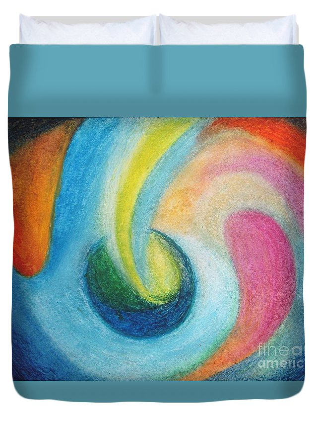 Earth Duvet Cover featuring the painting Astral Projection by Vesna Antic