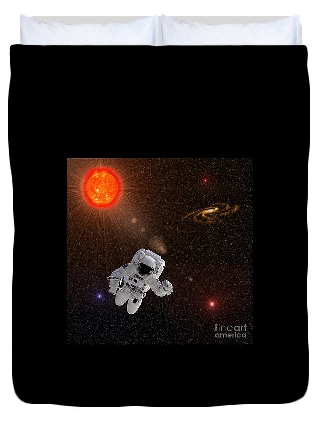 Suit Duvet Cover featuring the photograph Astronaut And Sun With Stars by Henrik Lehnerer