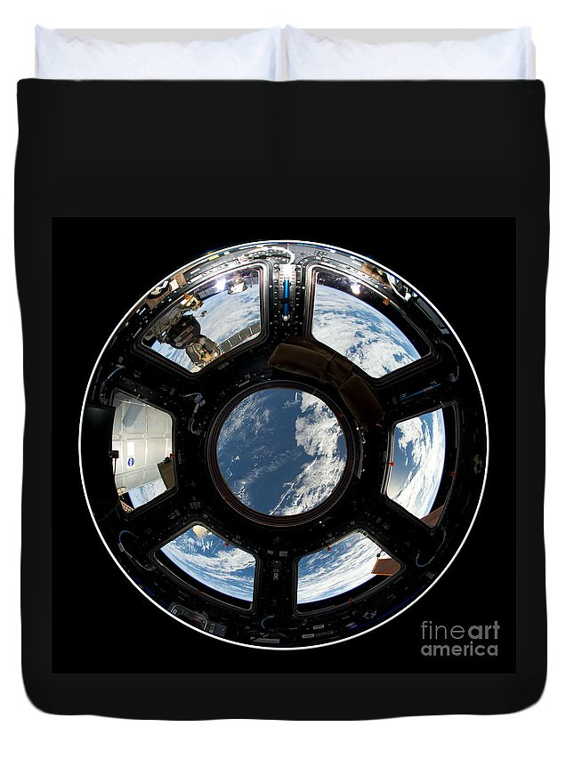 International Space Station Duvet Cover featuring the photograph Astronauts View From The Space Station by Rose Santuci-Sofranko