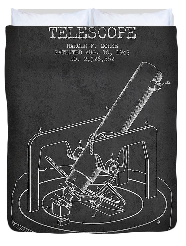 Telescope Duvet Cover featuring the digital art Astronomical Telescope Patent From 1943 - Dark by Aged Pixel