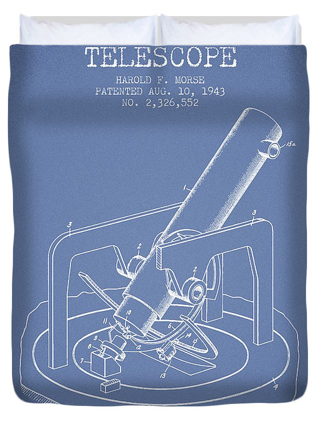 Telescope Duvet Cover featuring the digital art Astronomical Telescope Patent From 1943 - Light Blue by Aged Pixel
