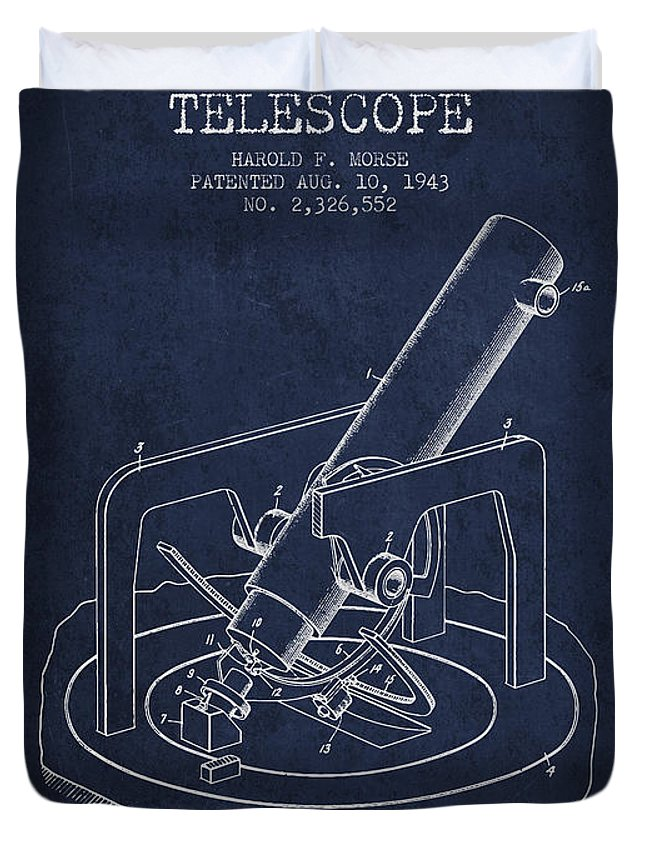 Telescope Duvet Cover featuring the digital art Astronomical Telescope Patent From 1943 - Navy Blue by Aged Pixel