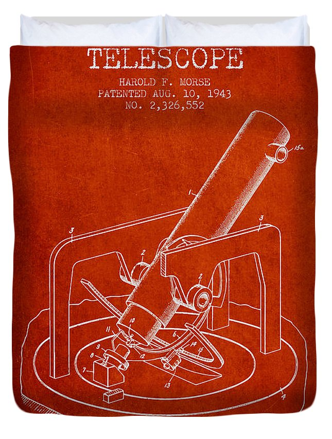 Telescope Duvet Cover featuring the digital art Astronomical Telescope Patent From 1943 - Red by Aged Pixel
