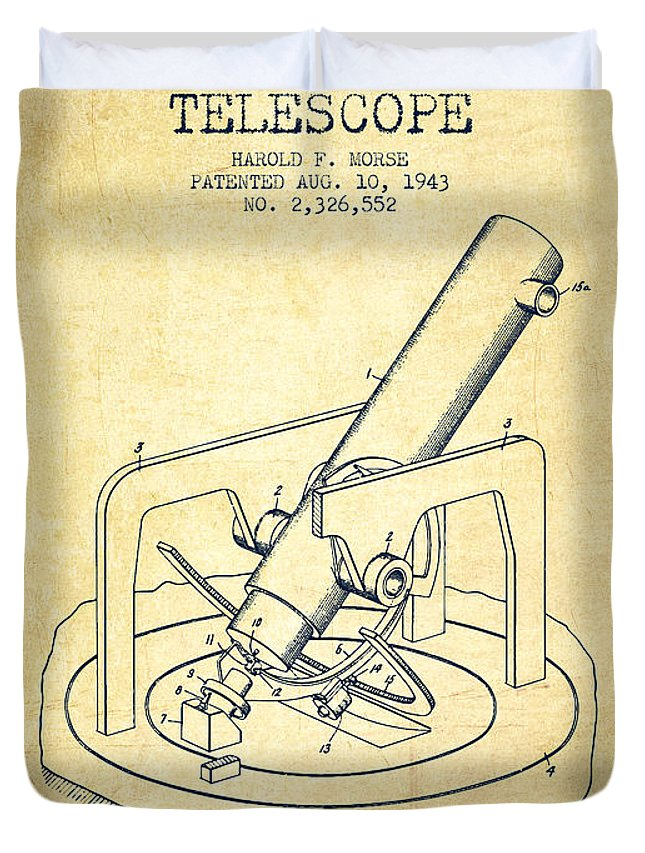 Telescope Duvet Cover featuring the digital art Astronomical Telescope Patent From 1943 - Vintage by Aged Pixel