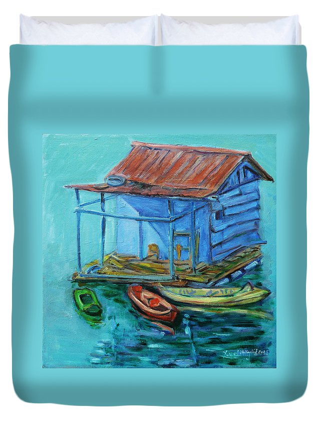 Landscape Duvet Cover featuring the painting At Boat House by Xueling Zou