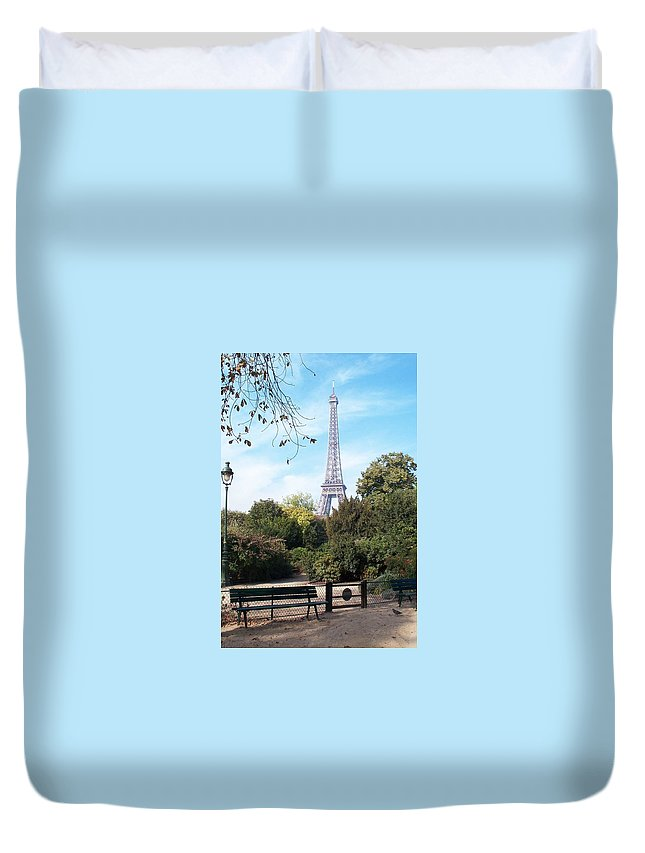 Eiffel Tower Duvet Cover featuring the photograph At Last by Barbara McDevitt