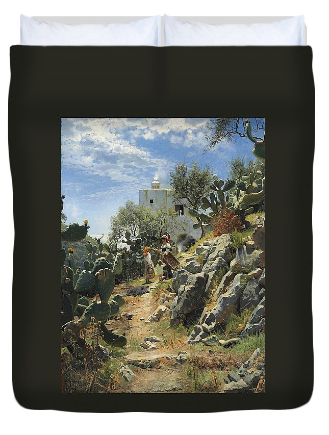 Peder Mork Monsted Duvet Cover featuring the painting At Noon On A Cactus Plantation In Capri by Peder Mork Monsted