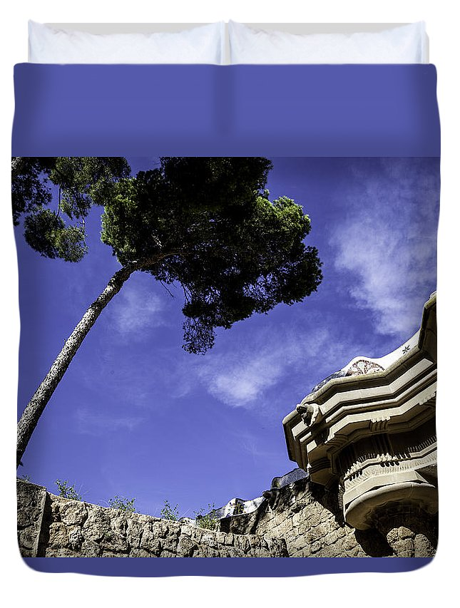 Parc Guell Duvet Cover featuring the photograph At Parc Guell In Barcelona - Spain by Madeline Ellis