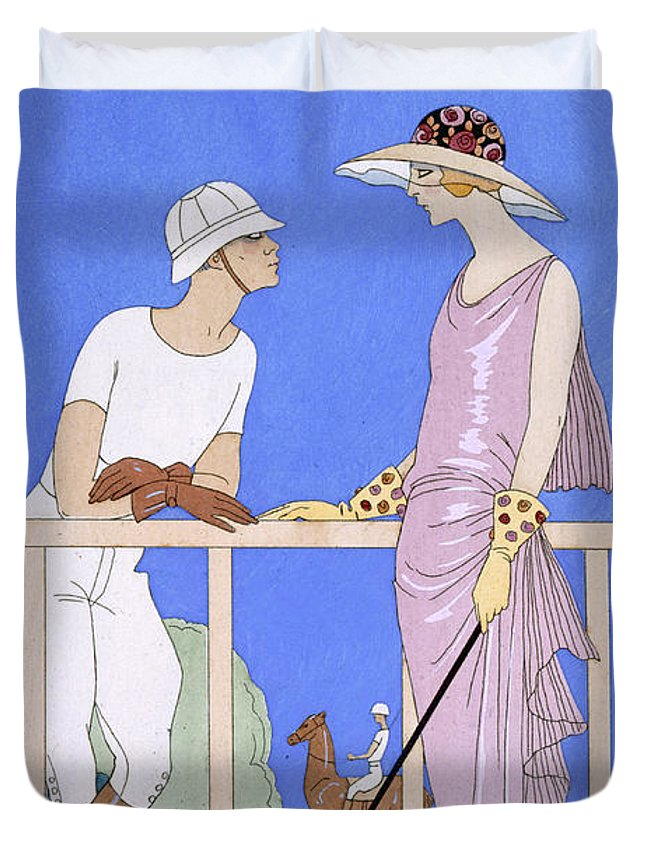 Au Polo Duvet Cover featuring the painting At Polo by Georges Barbier