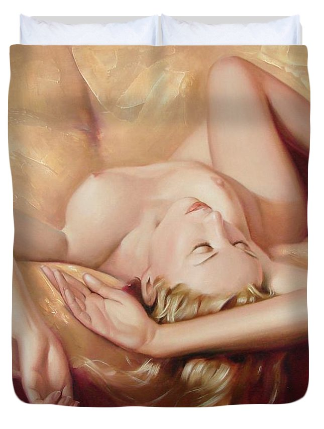 Oil Duvet Cover featuring the painting At Rest by Sergey Ignatenko