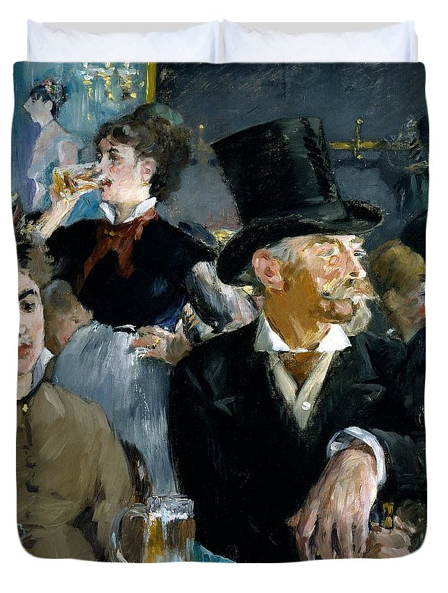 At The Cafe - Concert Duvet Cover featuring the painting At The Cafe Concert by Edouard Manet