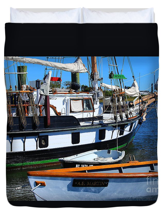 Tall Ship Duvet Cover featuring the photograph At The Docks by Marty Fancy