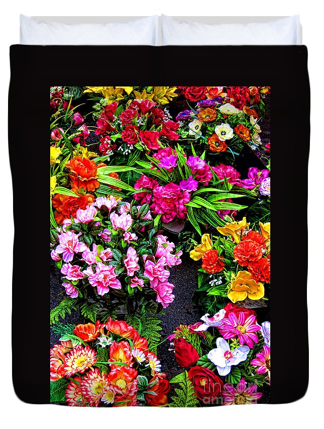 Flowers Duvet Cover featuring the photograph At The Flower Market by Olivier Le Queinec