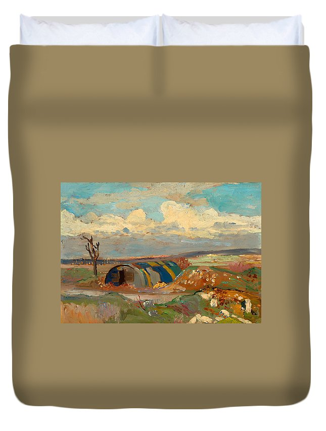 Painting Duvet Cover featuring the painting At The Front by Mountain Dreams