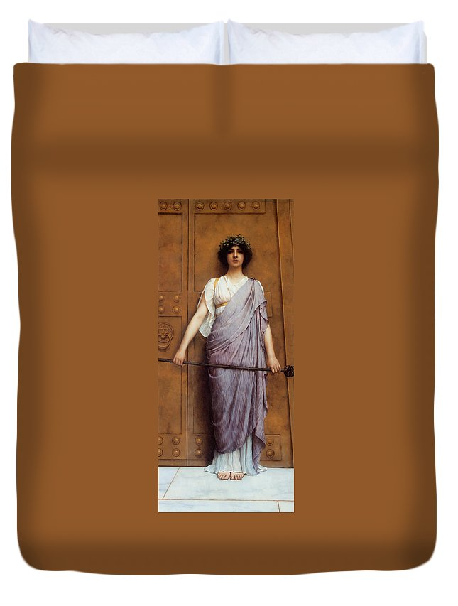 At The Gate Duvet Cover featuring the digital art At The Gate by John Williams Godward