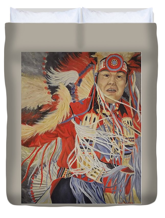 Indian Duvet Cover featuring the painting At The Powwow by Wanda Dansereau