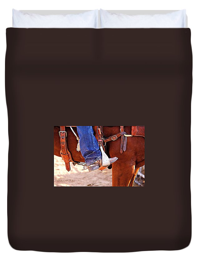 Horses Duvet Cover featuring the photograph At The Rodeo by Barbara Zahno