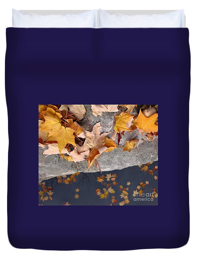 Leaf Duvet Cover featuring the photograph At Water's Edge by Ann Horn