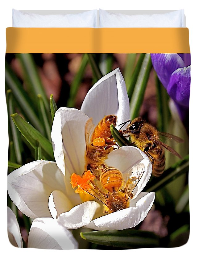 Bee Duvet Cover featuring the photograph At Work by Rona Black