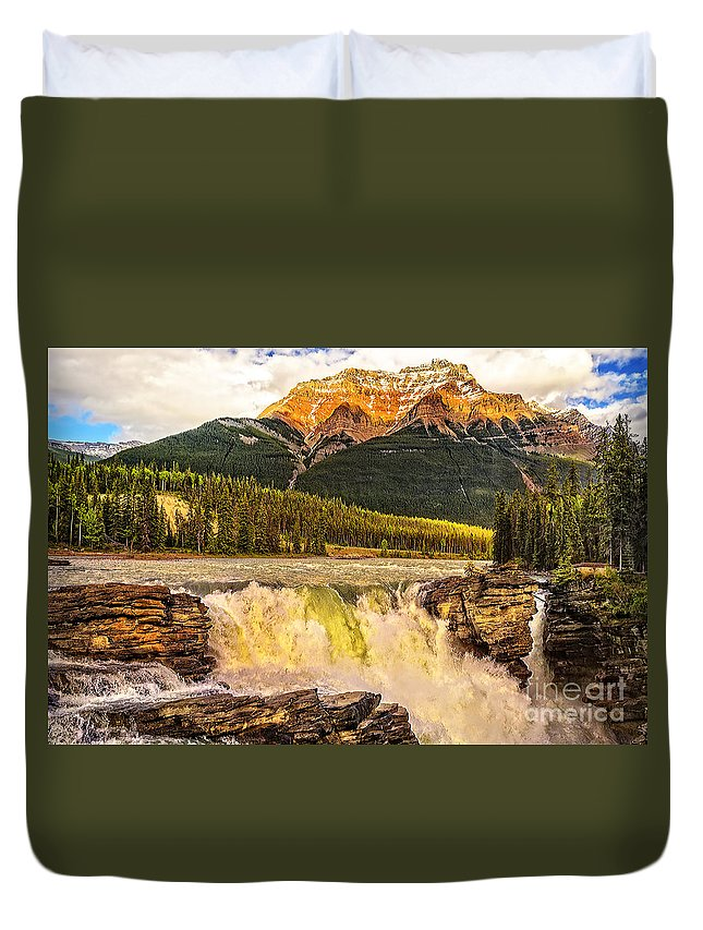 Athabasca Fall Duvet Cover featuring the photograph Athabasca Fall by Viktor Birkus