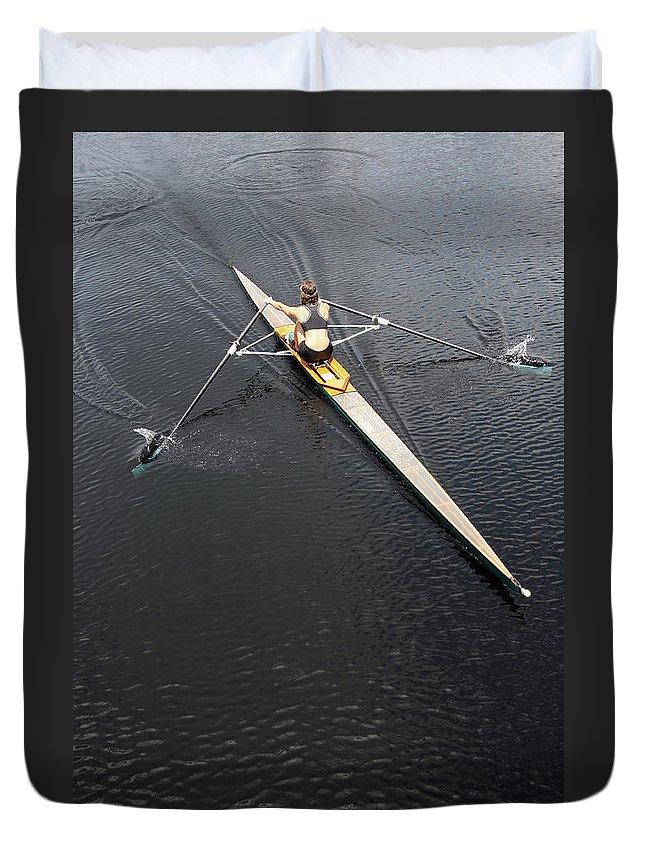 Sport Rowing Duvet Cover featuring the photograph Athlete Rowing And Sculling by Shanekato