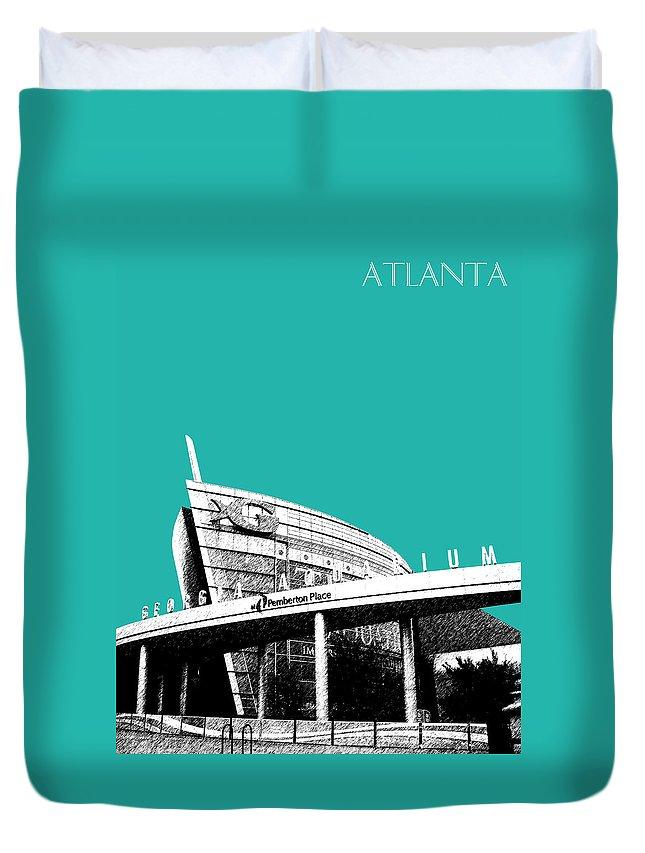 Architecture Duvet Cover featuring the digital art Atlanta Georgia Aquarium - Teal Green by DB Artist