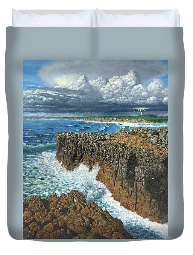 Landscapes Duvet Cover featuring the painting Atlantic Breakers Pontal Portugal by Richard Harpum