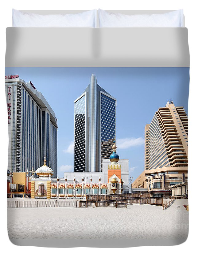 Aerial Duvet Cover featuring the photograph Atlantic City by Bill Cobb