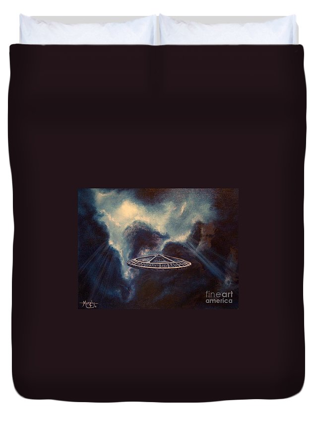 Si-fi Duvet Cover featuring the painting Atmospheric Arrival by Murphy Elliott