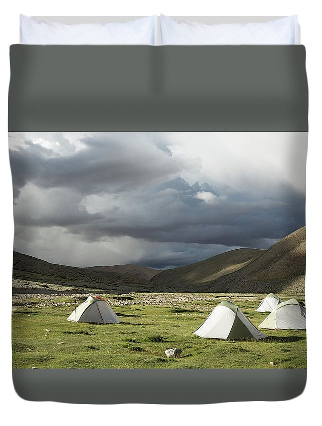 Tranquility Duvet Cover featuring the photograph Atmospheric Grassy Camping by Jamie Mcguinness - Project Himalaya