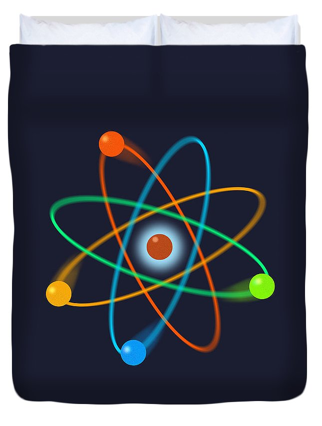 atomic Structure Duvet Cover featuring the digital art Atomic Structure by Thisis Notme
